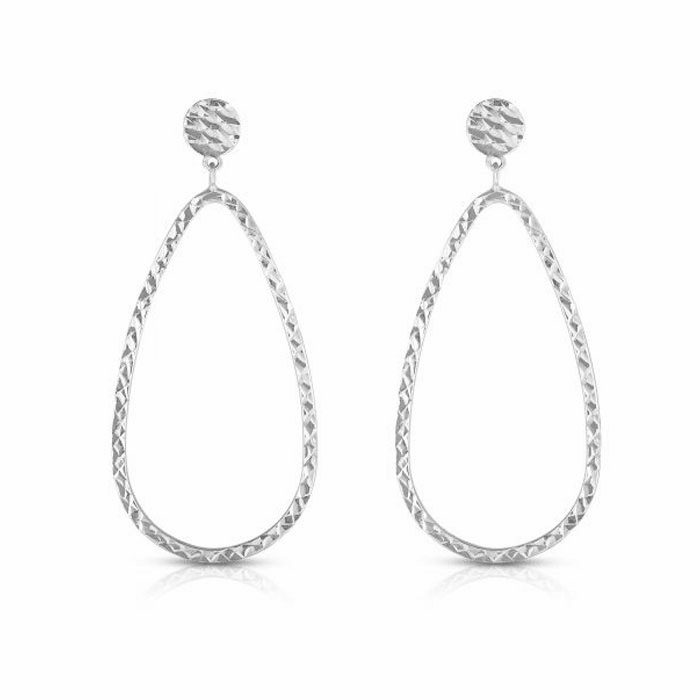 14kt White Gold Earring with Push Back Clasp - ER8323