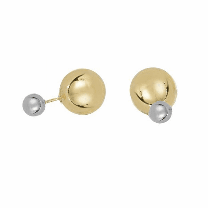 14Kt White Gold Front Ball Stud Earring with Yellow Gold Back Ball
