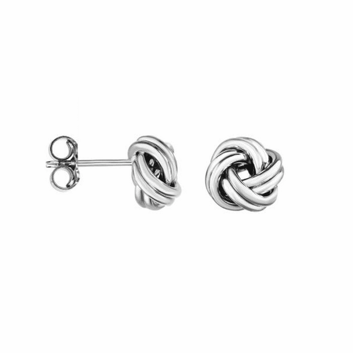14kt White Gold ImageBased-TBR Shiny Fancy Post Love knot Earring