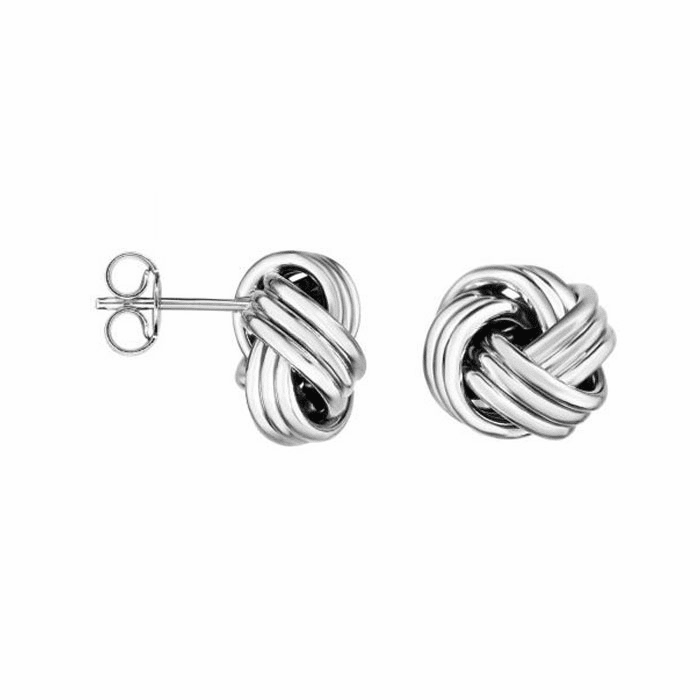 14kt White Gold Round Loveknot Earring with Push Back Clasp