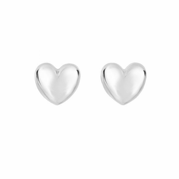 14Kt White Gold Shiny 11X10.3mm Puff Heart Fancy Post Earring