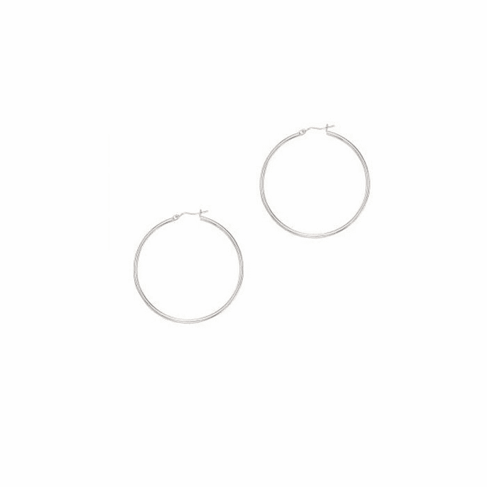 14Kt White Gold Shiny 2.0X50mm Round Tube Hoop Earring