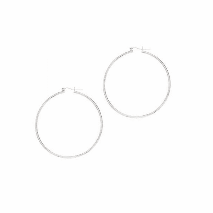14Kt White Gold Shiny 2.0X60mm Round Tube Hoop Earring