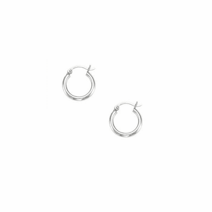 14Kt White Gold Shiny 2X15mm Round Tube Hoop Earring with Hinged Clasp