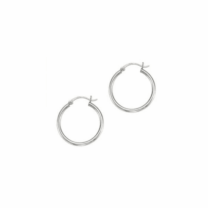 14Kt White Gold Shiny 2X25mm Round Tube Hoop Earring with Hinged Clasp