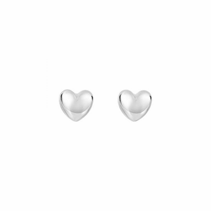 14Kt White Gold Shiny 8X7.3mm Puff Heart Fancy Post Earring