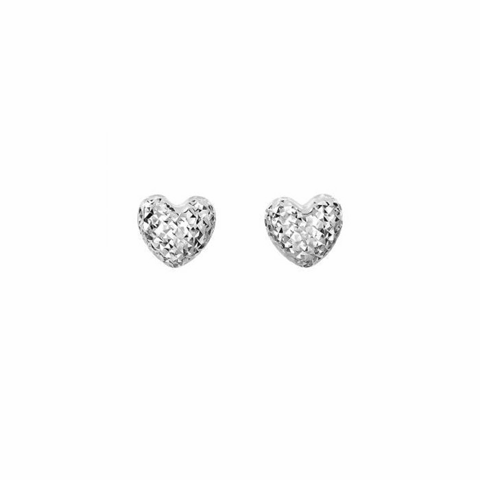 14Kt White Gold Shiny / Diamond Cut 8mm Puff Heart Fancy Post Earring