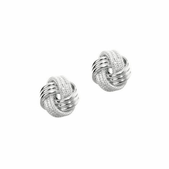 14Kt White Gold Shiny Textured 3 Row Love Knot Earring