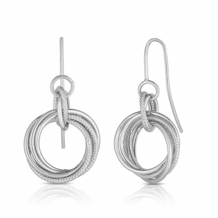 14kt White Gold Textured Earring with Euro Wire Clasp