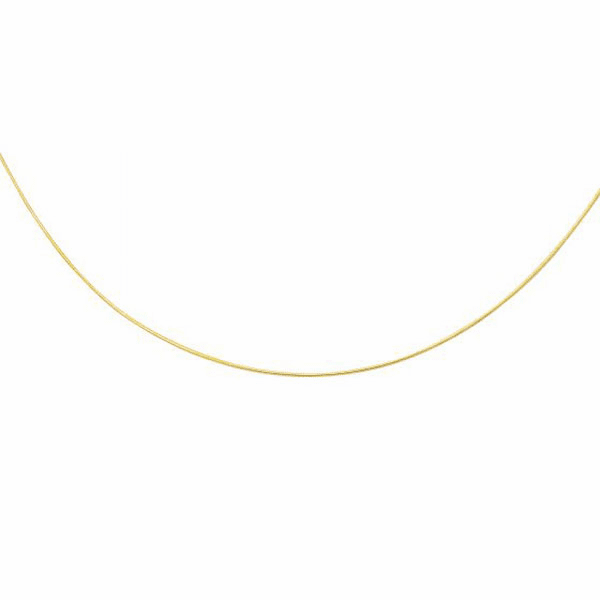 14kt Yellow Gold 1.0mm Diamond Cut Round Omega Necklace - ROMD