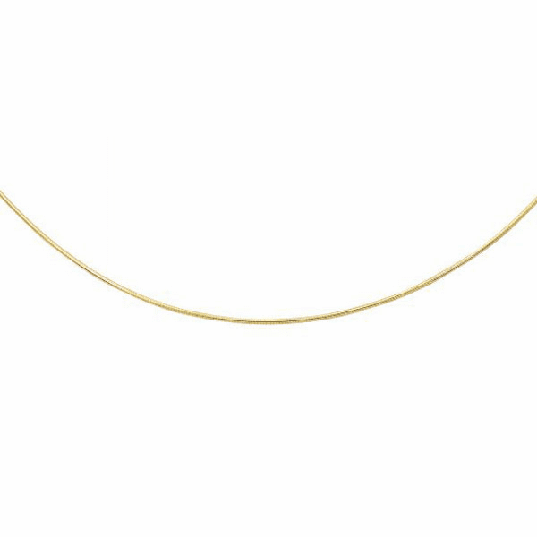 14kt Yellow Gold 1.5mm Diamond Cut Round Omega Necklace - ROMD1