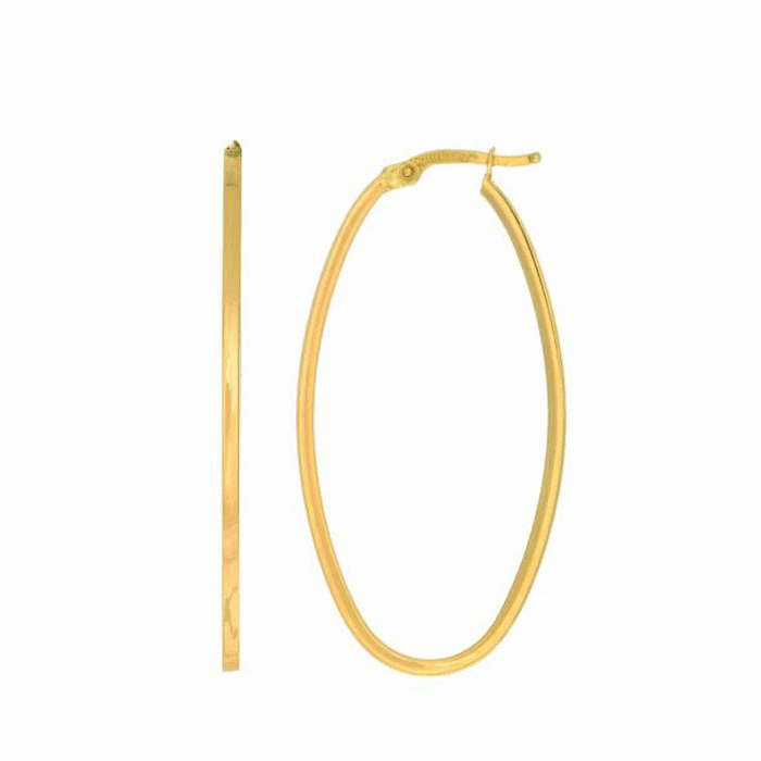 14Kt Yellow Gold 1.7X20X40mm Shiny Square Tube Oval Hoop Earring