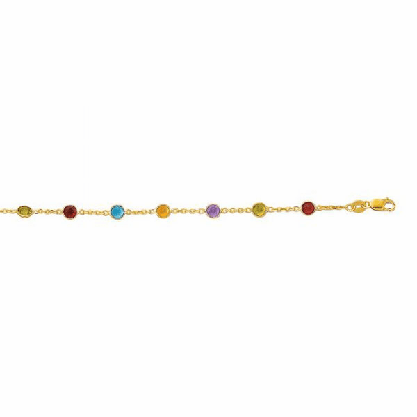 "14kt Yellow Gold 10"" Round Faceted 5 Color Stone Chain Link Anklet"