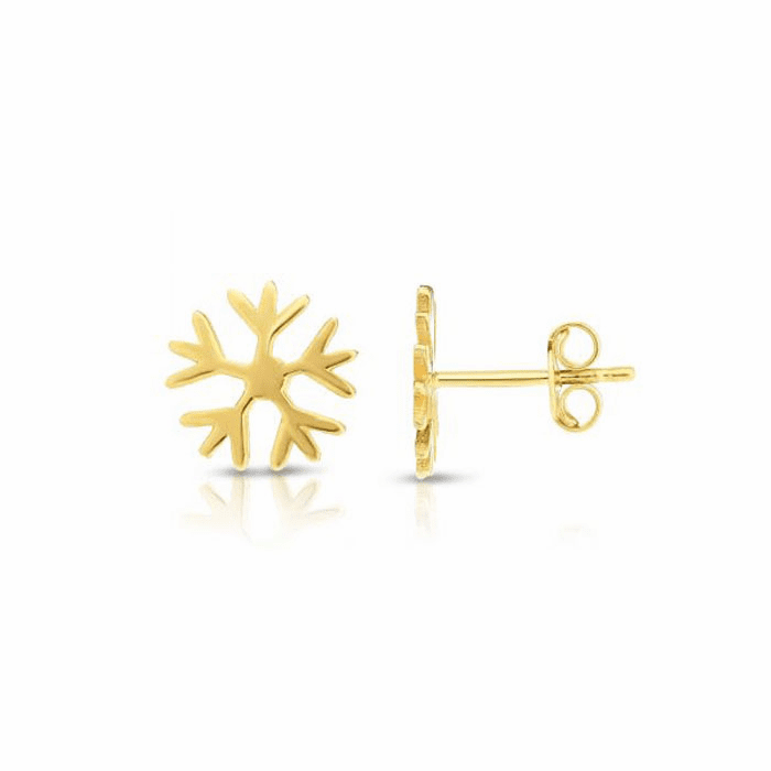 14kt Yellow Gold 11.2mm Shiny Snowflake Post Earring