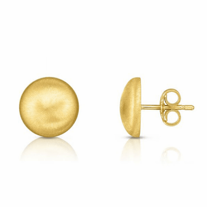 14kt Yellow Gold 11mm Matt Button Post Earring with Push Back Clasp
