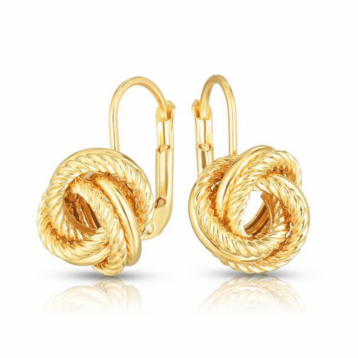 14kt Yellow Gold 11x11mm Diamond Cut Love knot Earring with Snap Clasp