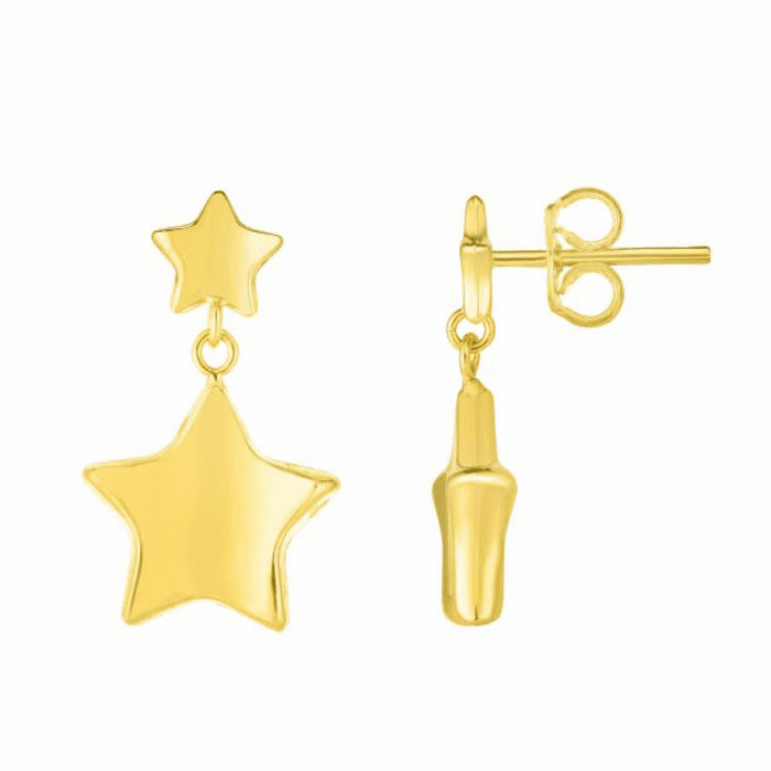 14kt Yellow Gold 12x18mm Shiny Star Drop Earring with Push Back Clasp