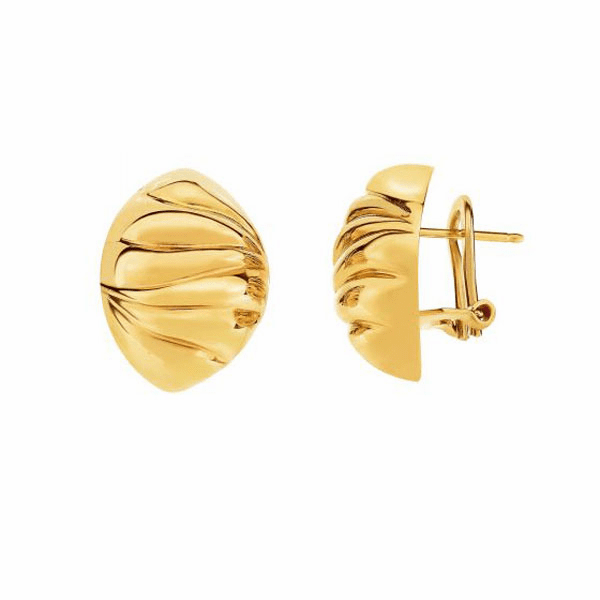 14Kt Yellow Gold 14X19mm Puff Marquise Type Fancy Omega Back Earring