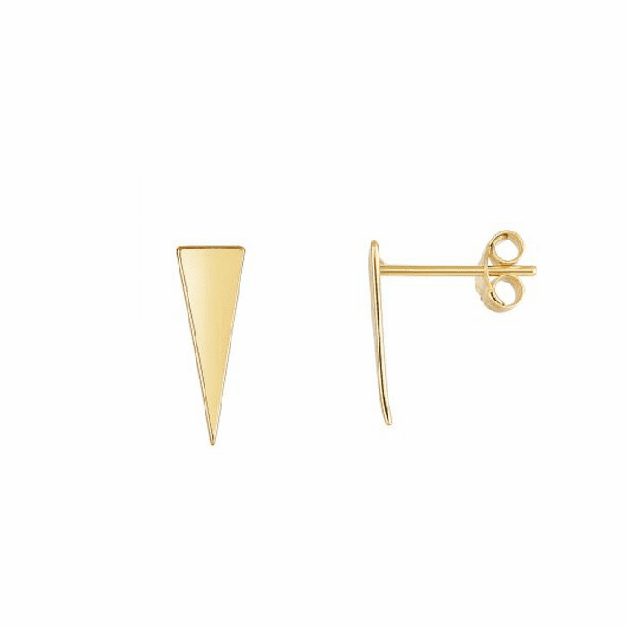 14Kt Yellow Gold 14X5mm Shiny 3 Point Long Triangl E Stud Earring