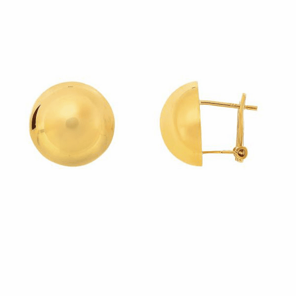 14Kt Yellow Gold 15mm High Polished Semi Round Half Ball Fancy Earring