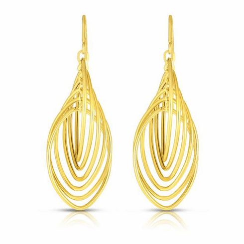 14kt Yellow Gold 15x45mm Shiny Marquise Drop Multi-Ring Earring