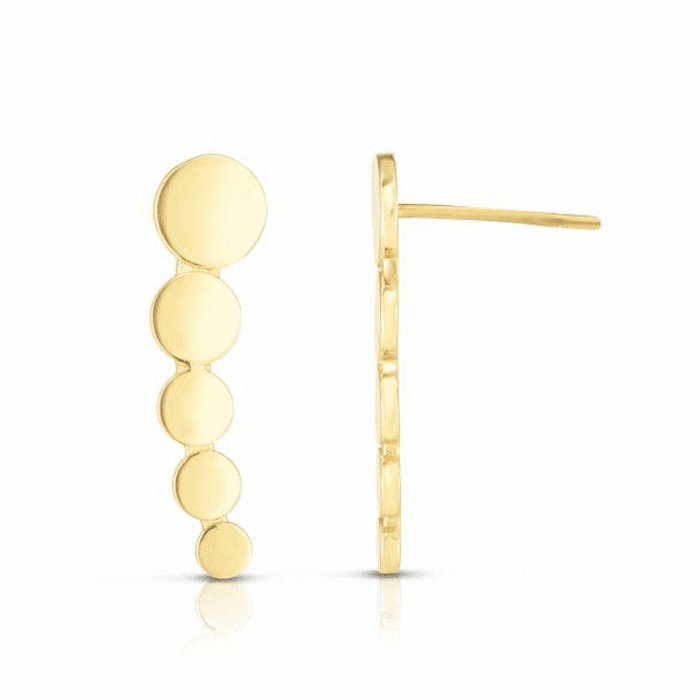 14kt Yellow Gold 17.9x4.8mm Polished Curved Climber Bead Bar Earring