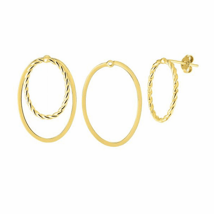 14kt Yellow Gold 19x29mm Shiny / Textured Oval Post Fancy Earring