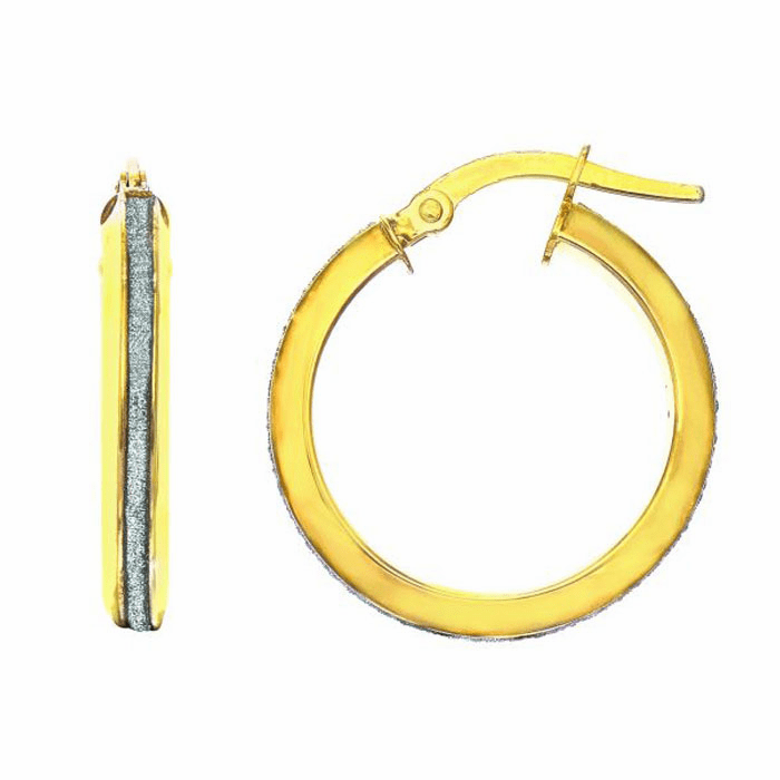 14Kt Yellow Gold 2.95X15mm Shiny Round Hoop Earring with White Glitter