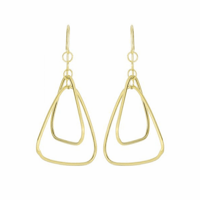 14Kt Yellow Gold 2 Graduated Round Tube Open Triangle Drop Earring