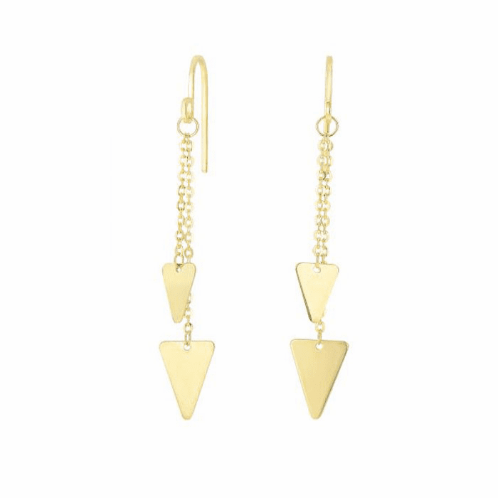 14Kt Yellow Gold 2 Hanging Solid Triangle On Oval Link Drop Earring