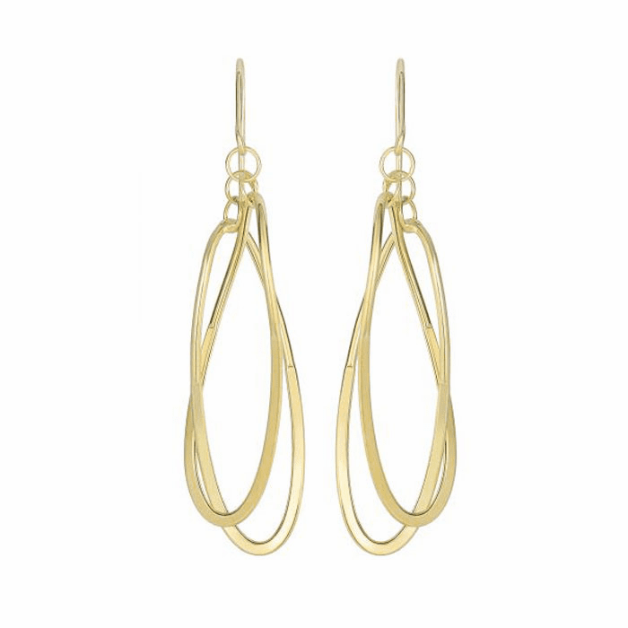 14Kt Yellow Gold 2 Square Tube Hanging Open Oval Fancy Drop Earring