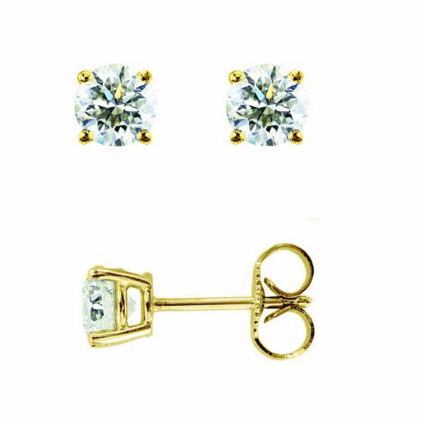 14Kt Yellow Gold .20Ct Round Diamond Stud Earring - DYGE103