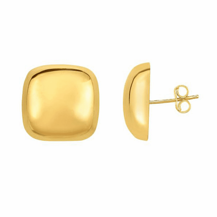 14kt Yellow Gold 20x20mm High Polished Domed Square Post Earring
