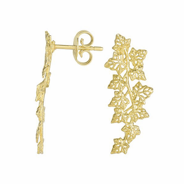 14Kt Yellow Gold 25X11mm / Textured Wing Type Drop Earring On Post