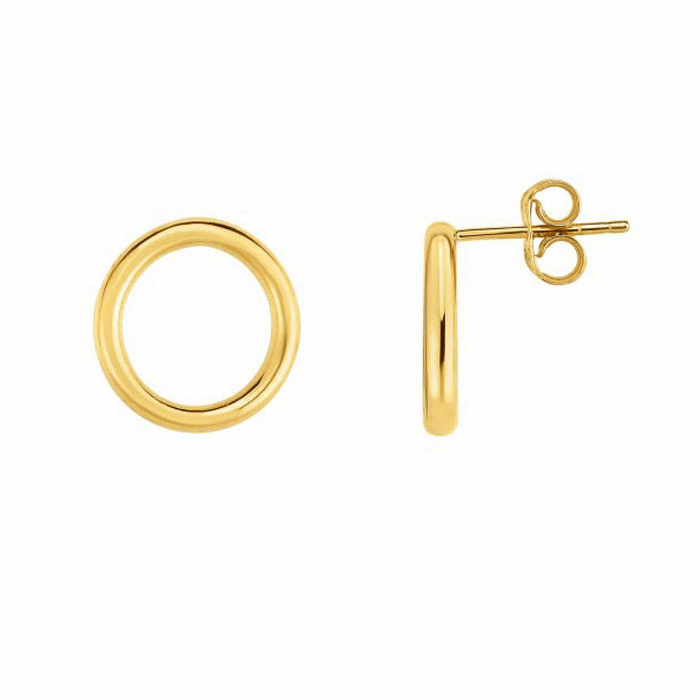 14kt Yellow Gold 2x13mm Shiny Earring with Push Back Clasp