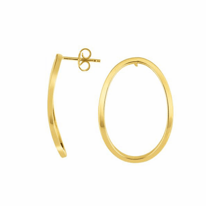 14kt Yellow Gold 2x25mm Shiny Oval Post Drop Earring