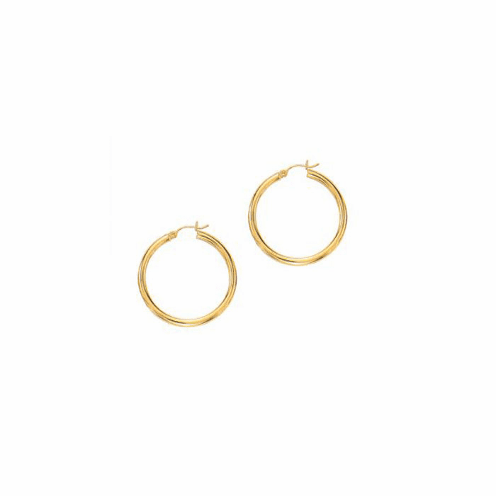 14Kt Yellow Gold 3.0X30mm Round Tube Shiny Hoop Earring