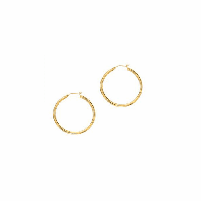 14Kt Yellow Gold 3.0X40mm Round Tube Shiny Hoop Earring