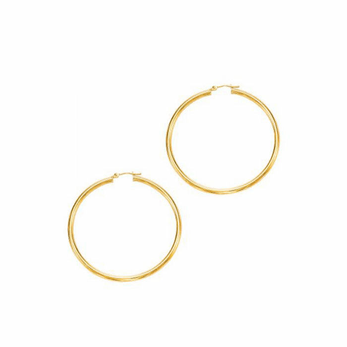14Kt Yellow Gold 3.0X50mm Round Tube Shiny Hoop Earring