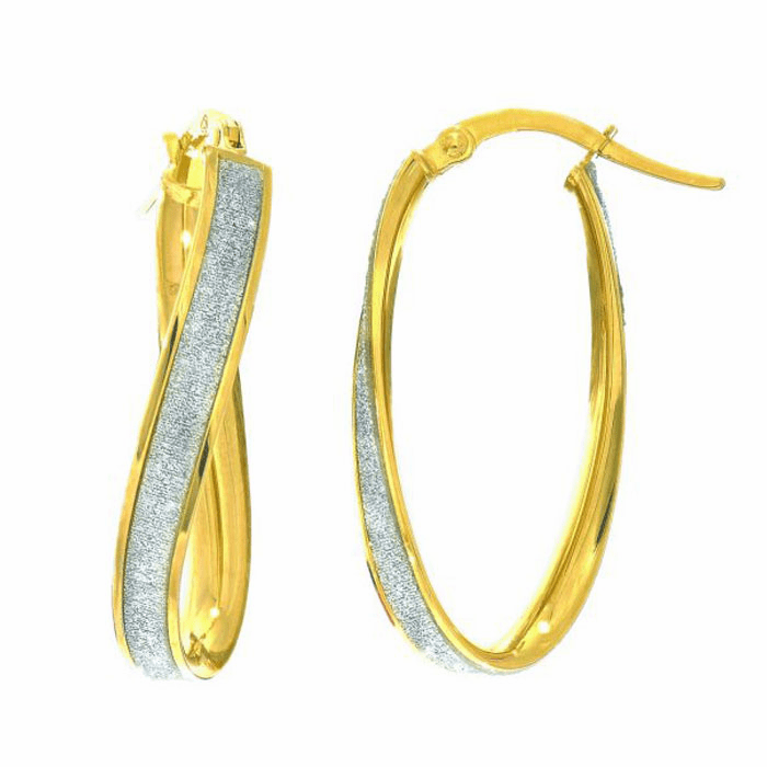14Kt Yellow Gold 3.75mm Twisted Oval Hoop Earring with White Glitter