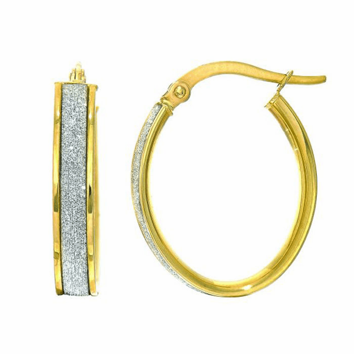 14Kt Yellow Gold 3.75X14X17mm Oval Hoop Earring with White Glitter