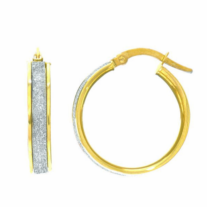 14Kt Yellow Gold 3.75X16mm Shiny Round Hoop Earring with White Glitter