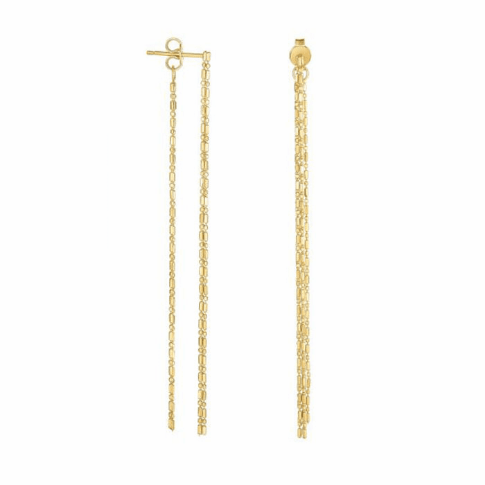 """14Kt Yellow Gold 3"""" Double Stran Ded Drop Earring with Push Back Clasp"""