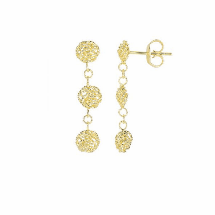 14Kt Yellow Gold 3 Hanging Textured Small Flower Type Drop Earring