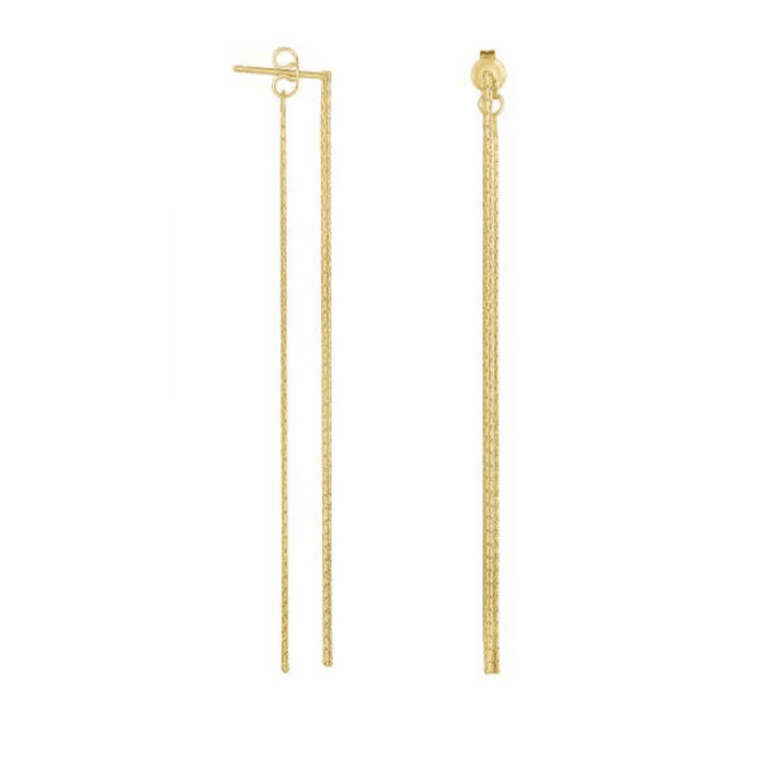 """14Kt Yellow Gold 3"""" Multi Stranded Drop Earring with Push Back Clasp"""