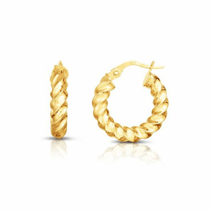 14kt Yellow Gold 3x11mm Hoop Earring with Hinged Clasp