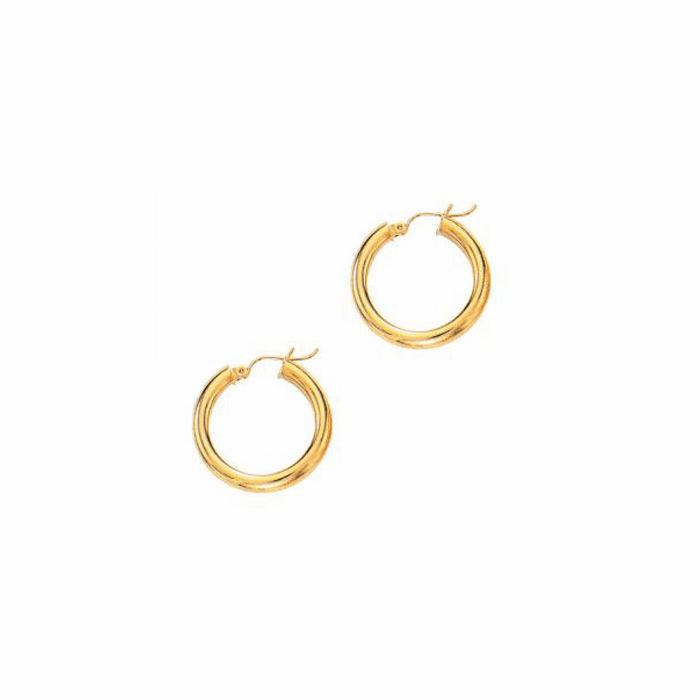14Kt Yellow Gold 4.0X25mm Round Tube Shiny Hoop Earring