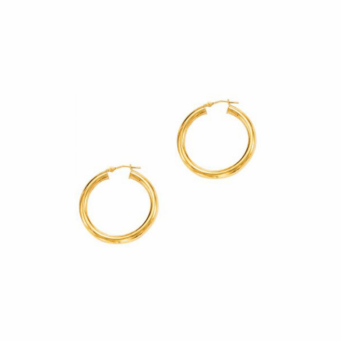 14Kt Yellow Gold 4.0X30mm Round Tube Shiny Hoop Earring