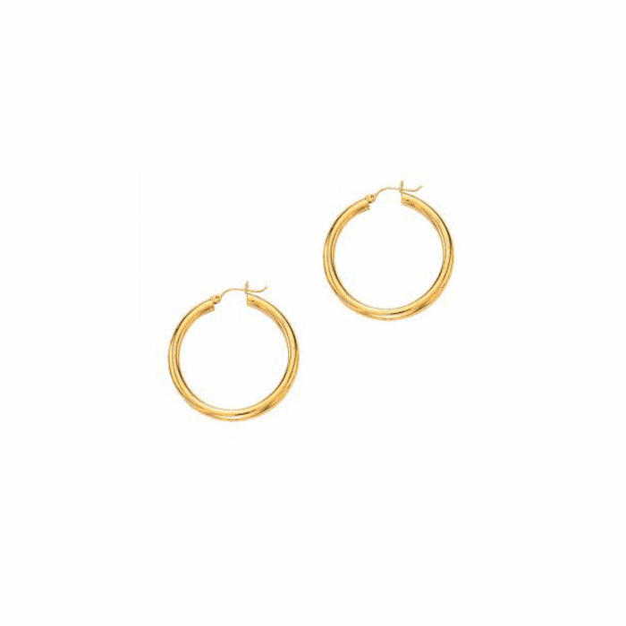 14Kt Yellow Gold 4.0X40mm Round Tube Shiny Hoop Earring
