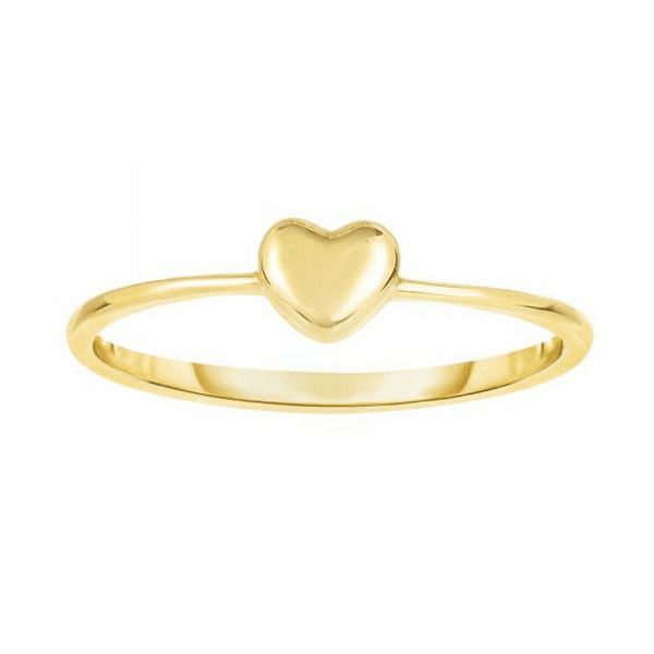 14kt Yellow Gold 4-1.4mm Shiny Square Tube Puff Heart Top Fancy Ring